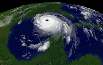 Satellite image of hurricane Katrina.
