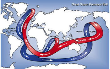 Map showing the great ocean conveyor belt carrying cold and warm water.