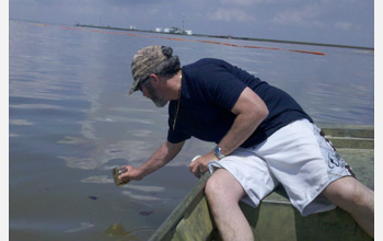 Scientists collect Gulf of Mexico oil samples for study of the oil degradation process.
