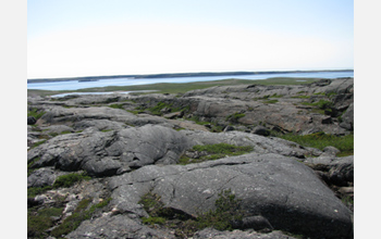 Photo of bedrock along the coast of Hudson Bay, Canada, which has the oldest rock on Earth.