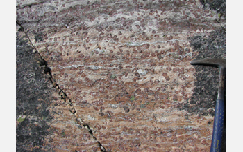 Photo of Earth's oldest known rock, which contains abundant garnet, seen as large round spots.