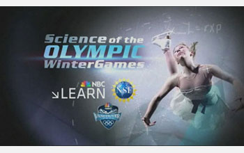 Text: Science of the Olympic Winter Games, NBC Learn; images: skater and NSF, NBC, Olympics logos.