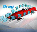 Image of a bobsled enveloped with arrows from the front to the rear showing drag.