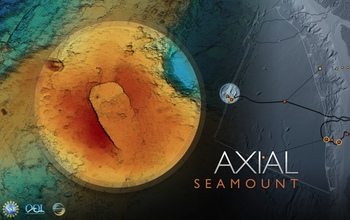Axial Seamount, located on the Juan de Fuca Ridge in the Northeast Pacific Ocean, erupted in 2015.