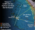 Map showing VISIONS '11 cruise track/work areas for NSF OOI regional cabled network component.