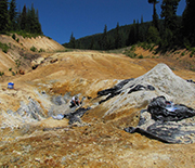 Blue clay in an open pit mine near Crater Lake, Oregon.