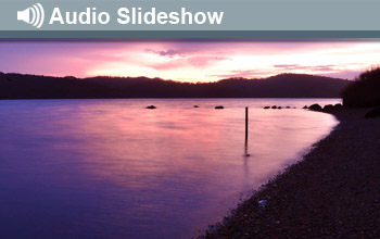 Photo of Tomales Bay and the words Audio Slideshow.
