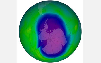 Earth's ozone hole shown in blue over the Antarctic.