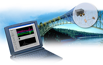 Illustration of computer screen and sensor embedded in a bridge span.