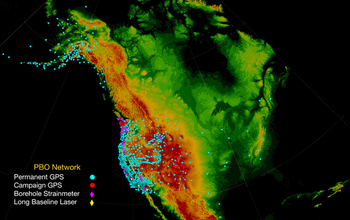 The NSF EarthScope Plate Boundary Observatory GPS network is providing millimeter-precision data.