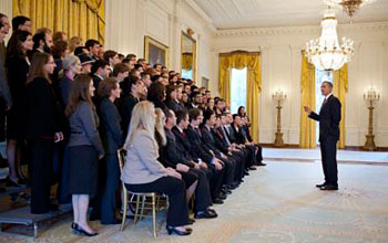 Photo of President Obama greeting the 2010 PECASE reipients in the East Room of the White House.