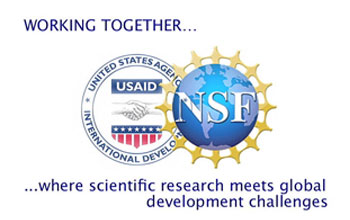 Overlapping NSF and USAID logos with text.