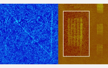 The new nanofountain probe produced these patterns; features are as thin as 40 nanometers