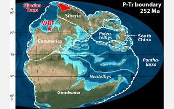 Map showing paleogeography during the Permian-Triassic boundary 252 million years ago.