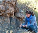 Photo of scientist Sophie Newbury studying the dead zone, a rock layer in Karoo Basin.