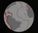 North Atlantic Ocean gravity gradient model showing plate tectonic history of rifting continents.