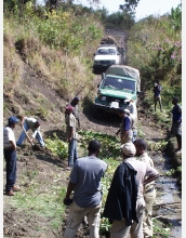 "The team is preparing the ""road"" on the way to the Kibish field site."