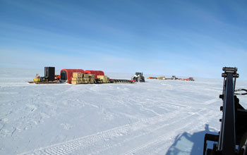 Image of the convoy at Pine Island Glacier in Antarctica.