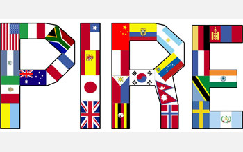 letters PIRE built with flags.