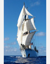 Photo of the SEA ship Corwith Cramer with all her sails set.