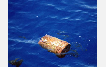 Photo of a plastic bucket found drifting in the North Atlantic.