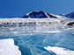blue ice covering Lake Fryxell in the Transantarctic Mountains