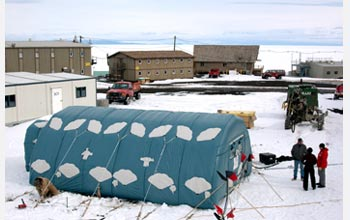 Photo of a NASA prototype lunar habitat at McMurdo Station, Antarctica.
