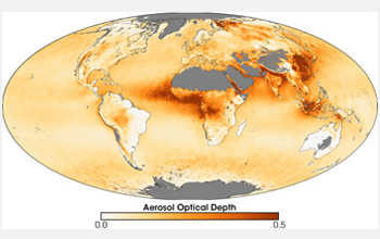 Image showing the annual mean aerosol optical depth for 2006.