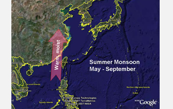 Map showing summertime circulation patterns linked with Asian monsoon transport warm, moist air.