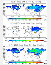 Image showing the March-May impacts of black carbon, mineral dust and both agents on snow cover.