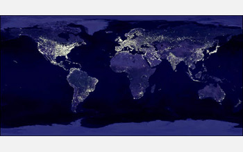 Population change another influence on climate change all images map of the night time city lights of the world growing in extent each gumiabroncs Choice Image