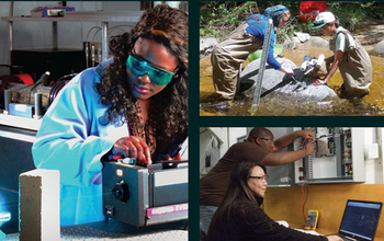 coolage of images showing students working in a lab and in the field
