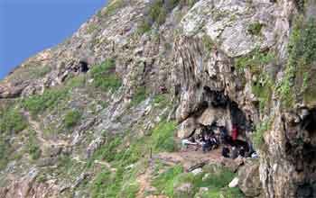 Blombos Cave on the shore of the Indian Ocean