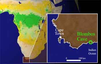 map showing location of Blombos Cave