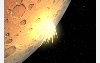 Illustration of impact after large piece of debris strikes planet