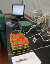Photo of a laboratory experiment that measures soil respiration.