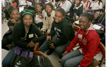 Photo of girls from the Contra Costa Expanding Your Horizons Conference in San Pablo, California.