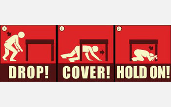 Text and illustrations of a man crawling and crouching beneath table: Drop! Cover! Hold On!