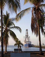 Photo of the scientific drilling vessel JOIDES Resolution in Puntarenas, Costa Rica.