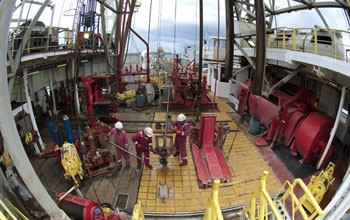 Image of the rig floor of the scientific drilling vessel JOIDES Resolution.