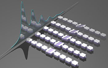 artist's impression of an array of nanomechanical resonators