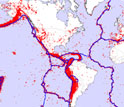 Map of the earth's surface showing plates and earthquake distributions in red.
