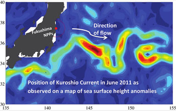 Map showing the Kuroshio Current off Japan in June 2011 as measured by sea level anomalies.