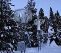 Snow gauges, operated by the National Center for Atmospheric Research, measure how much snow falls.