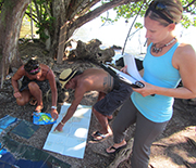 The researchers charted courses around the island to survey which fish were at roadside stands.