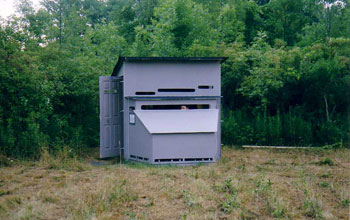 Photo of a blind that researchers use to study hawk populations in upstate New York.