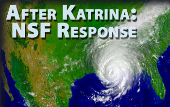 Illustration of hurricane, U.S. map and words After Katrina: NSF Response