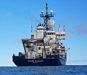 R/V Roger Revelle sets sail on the Pacific Ocean.