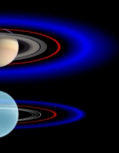 This schematic view shows the outer rings of Saturn (top) and Uranus.