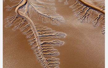 Aerial image of the dry Colorado Rive delta near the Sea of Cortez.